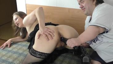 Fat Midget fucks Skinny Teen with Dildo to Orgasm - Hairy Pussy