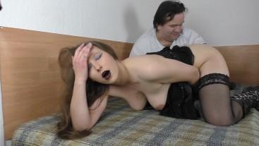 Fat Midget fucks Skinny Teen with Dildo to Orgasm - Very Hairy Girl Pussy