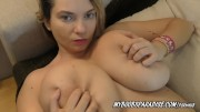 Cute Kitty in red play bouncing her huge natural boobs