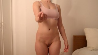 Ballbusting Strip Game with Wife Handjob and Cum on Body