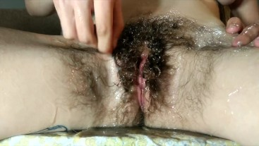 Wet and Messy Hairy Bush ASMR Lube Combing