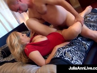 Busty Hot Cougar Julia Ann Bangs 2 Hard Rock Cocks!