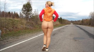 Mature without panties walking on the road