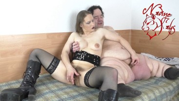 Hairy Teen Masturbate together with fat dwarf - 130cm Midget