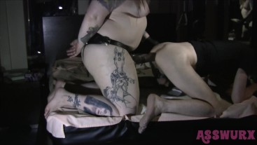 Tattooed Domme Pegs His Ass With A BBC