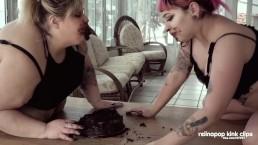 Messy cake stuffing makeout!