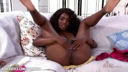 Ebony bombshell Daya Knight masturbates solo
