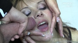 Premium Bukkake - Michelle swallows 74 huge mouthful cumshots
