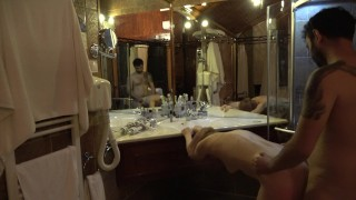 Mature lady fucked after shower in front of the mirror !