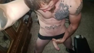 Hot tattooed guy jerks off while wife is out shopping