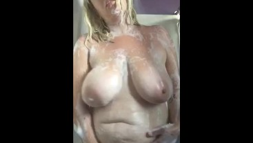 Chubby Blonde Slut Showers and Touches Herself