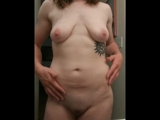Playing with my tits and rest of my body after a hot shower
