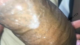 big black cock cums hard while talking nasty and plays with the mess