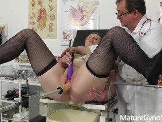 Freaky gyno doctor secretly records his mature female patient on hidden cam