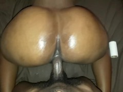 EBONY TEEN WITH HUGE ASS BOUNCING ON BBC DOGGY STYLE, REVERSE COWGIRL