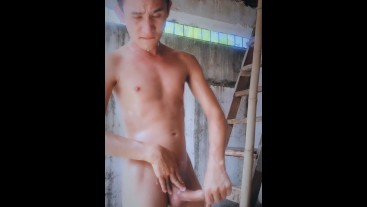 Nude & Jerking Off Outdoors then Having a Shower and Cumming