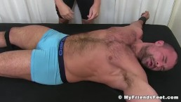 Restrained muscle hunk tickled hard and with no mercy
