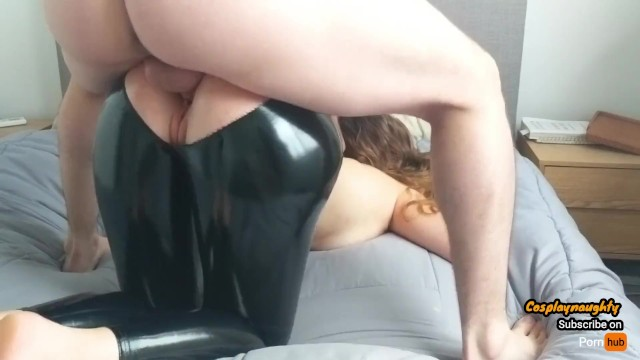 Will oil base enamel cover latex Teen gets her latex leggings ripped and gets fucked hard through it
