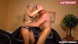 LETSDOEIT Horny German Blonde Rides StepDaddy's Cock On Tape
