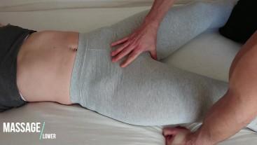 Toching Pussy in Grey soft Yogapants - Leggings