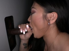 Gloryhole Asian needs two hands for BBC!