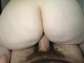 Thick white girl with huge ass and tight pussy rides big dick