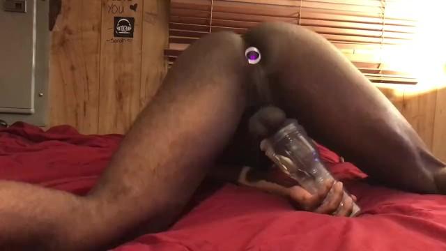 Fleshlight then cumshot Big black dick fucks fleshlight then cums on toy ass