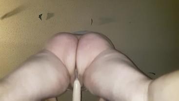 BBW fucks dildo to squirting orgasm