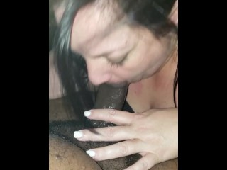 Sloppy Blowjob with her swallowing every bit of cum!