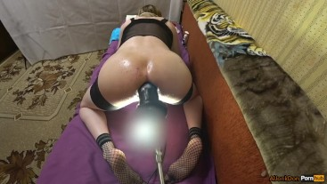 Rub the oil and fucked himself in the ass