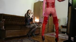 Domina Femdom Feeding Cum Slave