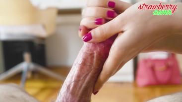 ASMR Young Girl Rubs Daddy's Dick - Long hand job and cum