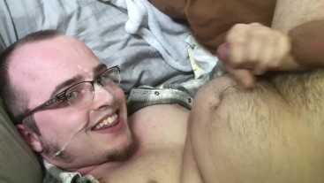 Chubby Guy Loves to Cum on His Face!