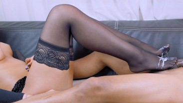 Hot Babe in Pantyhose Gets the Biggest Thickest Sludge Cum Load (2 Cameras)