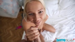 Horny blonde beauty ends first date with cum in her mouth