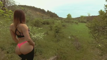 Young teen with nice butt gets quick outdoor fuck