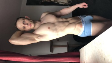 Hunk with big bulge flex his muscles
