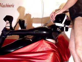 Shiny black latex slut ring gagged hogtied unmercifully skullfucked- TEASER