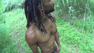 Naked in the park 2 cum shots-risky outdoor BBC muscle stud