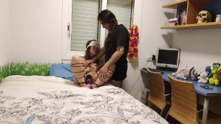 Beautiful Chinese slave tied up with a vibrator on her feet and fucked