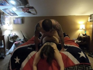 She wanted to play casting couch on the bed. Passionate sex. InkedDuo