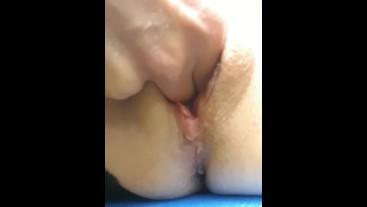 Little Wet Kitty Orgasms Hard in Public, Cum Drips to her Ass!
