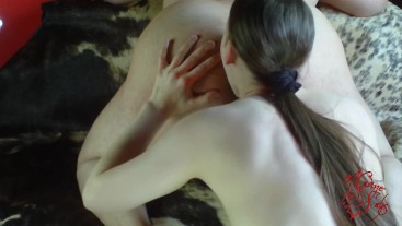 Teen licks Fat Old Guy's deep Asshole until he fucks her