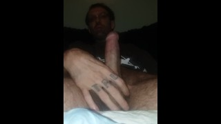Extreme close up. Big dick tattooed male getting off with porn girls.