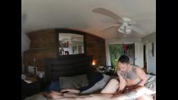 360 VR Bedroom sex blowjob cumshot