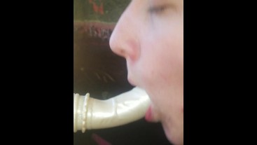 Stick your cock in me daddy while I suck on my mounted dildo in the window