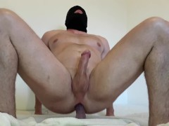 SEXY GUY WITH BDSM MASK FRONT RIDE DILDO