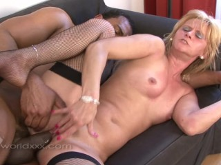 Blonde Grandma Is Filled with a Black Cock Creampie