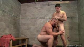 ExtraBigDicks Bear Spies Big Cock in the Gym Shower