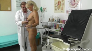 Sexy granny gyno exam secretly recorded by perverted gynecologist